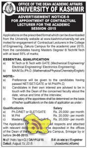 LECTURER JOBS IN KASHMIR UNIVERSITY, Jobs in Kashmir university , teaching Jobs in Kashmir university, Vacancies in Kashmir university, Employment Srinagar