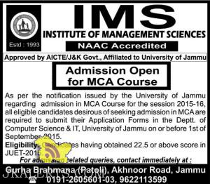 Admission Open in IMS for MCA Course Jammu university