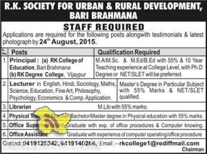 Principal lecturer office assistant jobs in R.K. SOCIETY FOR URBAN & RURAL DEVELOPMENT