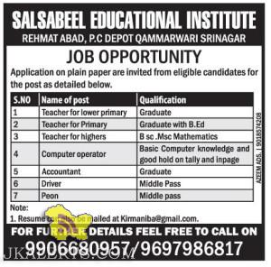 Teaching and Non Teaching jobs in SALSABEEL EDUCATIONAL INSTITUTE