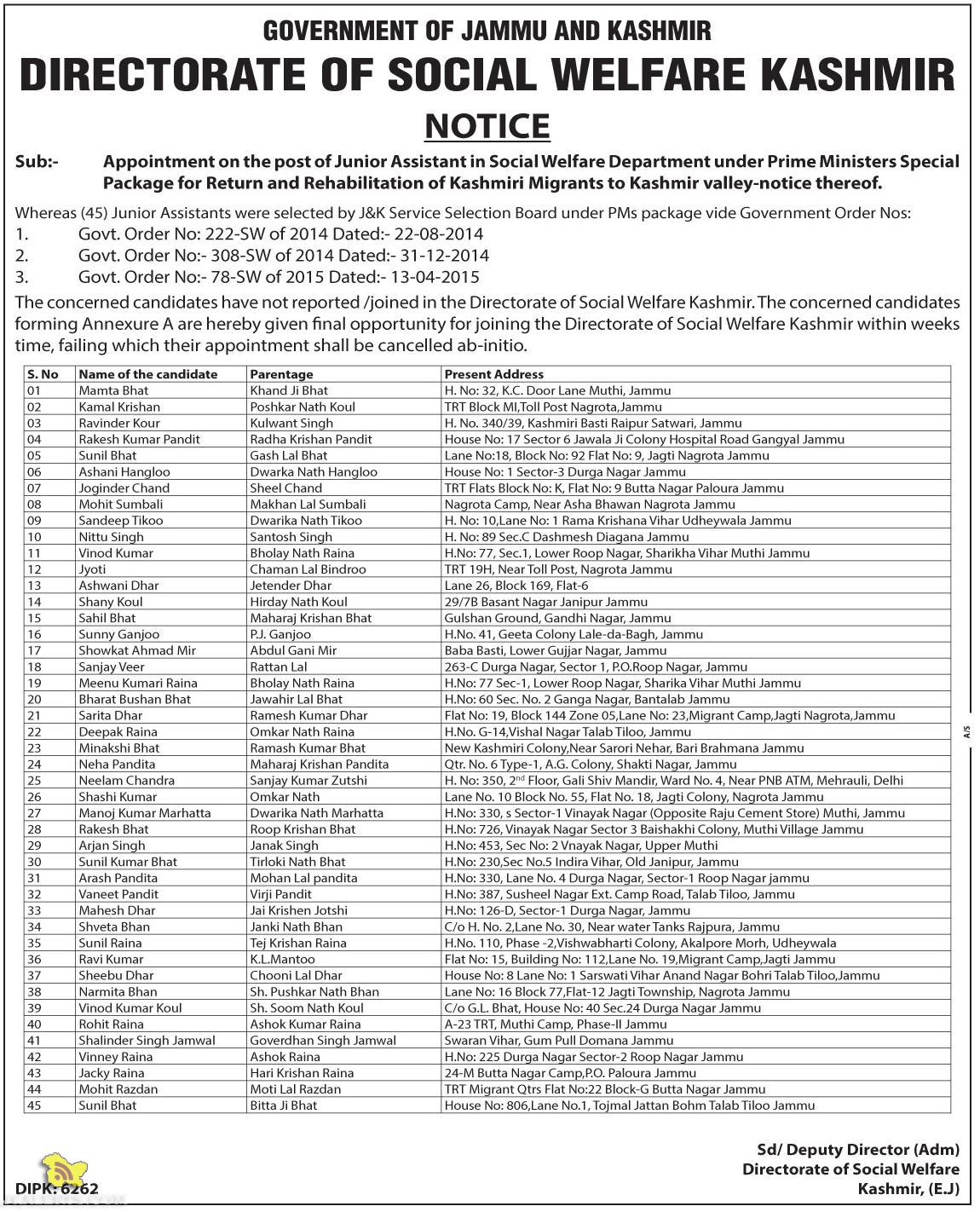 Appointment on the post of Junior Assistant in Social Welfare Department