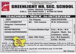 Teachers jobs in GREENLIGHT HR. SEC. SCHOOL