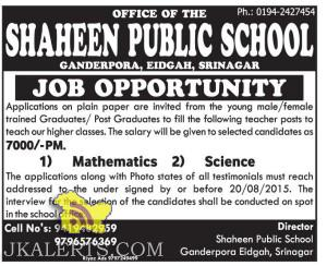 Teaching jobs in SHAHEEN PUBLIC SCHOOL