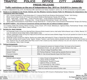 Traffic restrictions on the eve of Independence Dav. 2015 on 15-8-2015 in Jammu city