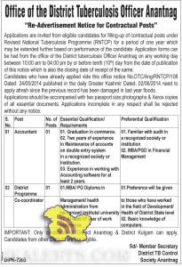 Accountant, District Programme Coordinator jobs in office of District Tuberculosis