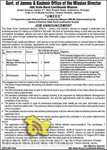 Govt Jobs in Umeed under National Rural Livelihoods Mission (NRLM)