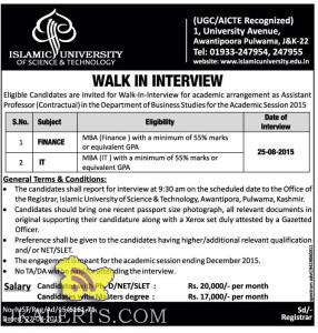Finance and IT Jobs in Islamic University of science and technology, walkin interview in Islamic university of science and technology, Vacancy of IT Finance