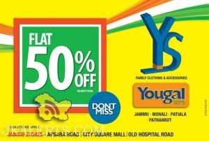 Yougal Sons Flat 50% off, Branded showroom in J&K