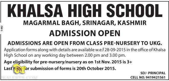 Admission open in KHALSA HIGH SCHOOL srinagar