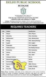 Jobs in DELHI PUBLIC SCHOOL Budgam , jobs in dps Srinagar, Teaching jobs in Srinagar, Jobs in Budgam, Teaching Jobs in Delhi Public School Srinagar, DPS SGR