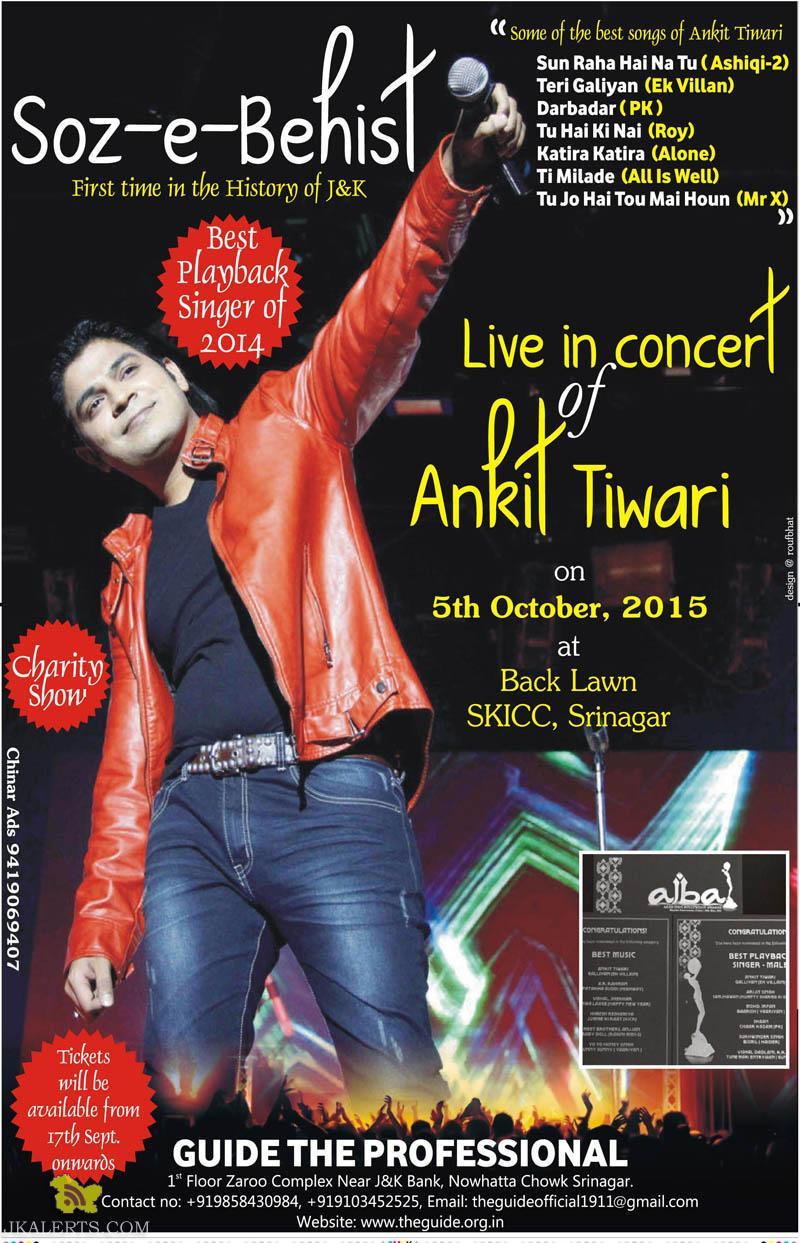 Live in Concert of Ankit Tiwari, Soz-e-behest in SKICC Srinagar