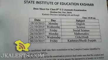 Date-Sheet for CLASS 8 Term II Examination 2015