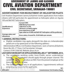 ADVERTISEMENT FOR RECRUITMENT OF HELICOPTER PILOTS IN CIVIL AVIATION DEPARTMENT, Jammu and kashmir Employment news 2015 , Career in Civil aviation Jobs in