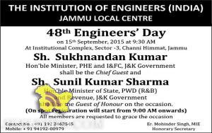 48th Engineers' Day Celebrated at IEI Jammu Local Centre
