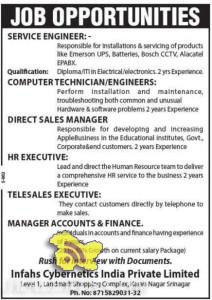 Various Jobs in Infahs Cybernetics India Private Limited