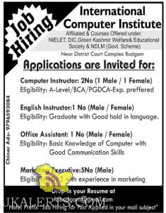 Computer Instructor, Office Assistant, Marketing Executive jobs in Srinagar, jobs in International Computer Institute, Private Jobs In Srinagar, Graduates