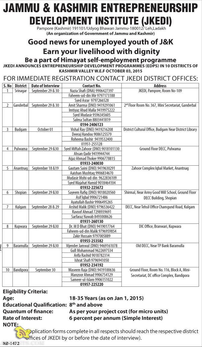 JKEDI self-employment programme Himayat