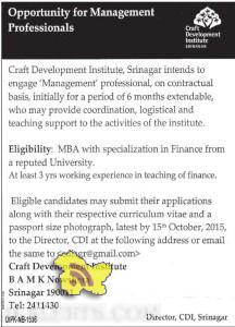 Jobs in Craft Development Institute, Srinagar
