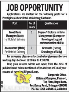 Front Desk Manager, Accountant jobs in Hotel at Gulmarg, JObs in Gulmarg, Employment news, jobs in hotel. Accountant jobs in Gulmarg Front desk Manager job