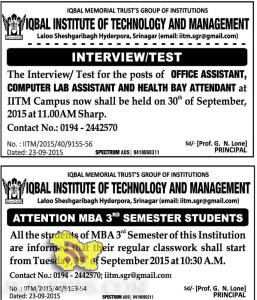 OFFICE ASSISTANT, COMPUTER LAB ASSISTANT JOBS IN IQBAL INSTITUTE