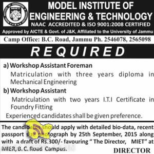 JOBS IN MIET COLLGE JAMMU