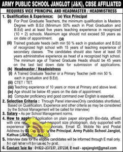 JOBS IN ARMY PUBLIC SCHOOL JANGLOT