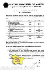 EMPLOYMENT NOTIFICATION FOR TEACHING STAFF IN CENTRAL UNIVERSITY OF JAMMU CUJ