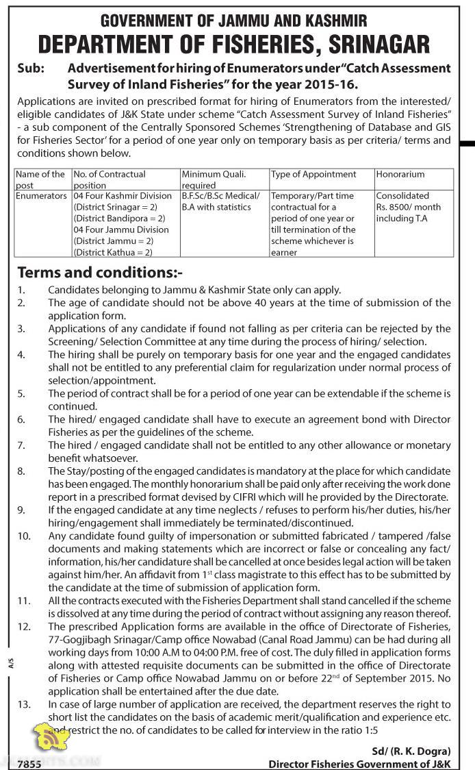 Government Jobs in DEPARTMENT OF FISHERIES, SRINAGAR