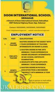 Jobs in DOON International School Srinagar, Teaching JObs in Doon International School Srinagar, Employment in Doon international, Private Jobs , Career