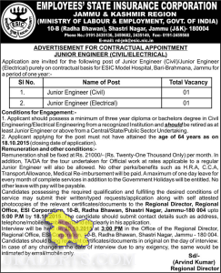 JUNIOR ENGINEER (CIVIL/ELECTRICAL) JOBS IN EMPLOYEES' STATE INSURANCE CORPORATION (ESIC)