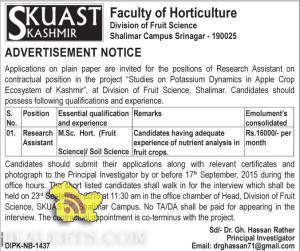 Research Assistant Jobs in SKUAST Kashmir, Employment news 2015