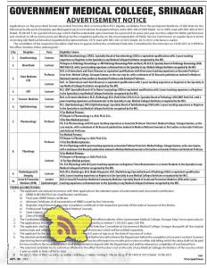 LECTURER, PROFESSOR JOBS IN GOVERNMENT MEDICAL COLLEGE, SRINAGAR