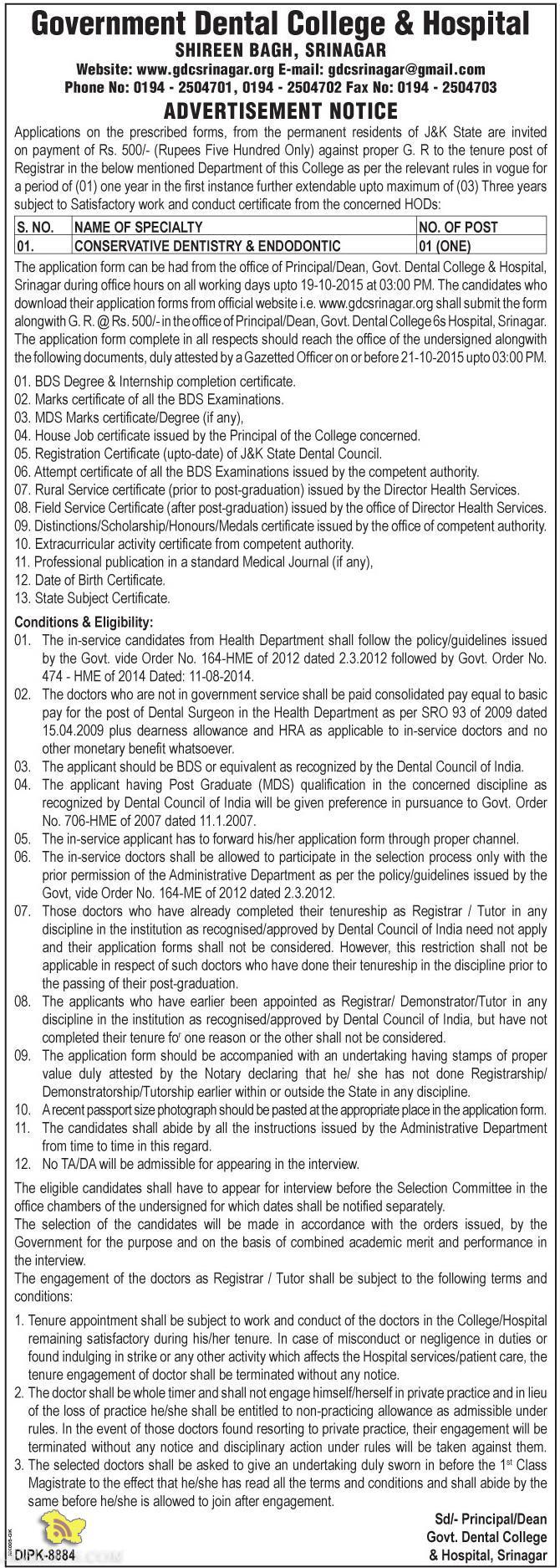 CONSERVATIVE DENTISTRY & ENDODONTIC JOB IN DENTAL COLLEGE, Govt jobs in srinagar, Employment news srinagar 2015, jobs in govt dental college srinagar