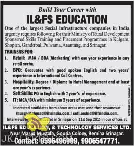 Jobs in IL&FS EDUCATION, & TECHNOLOGY SERVICES LTD.