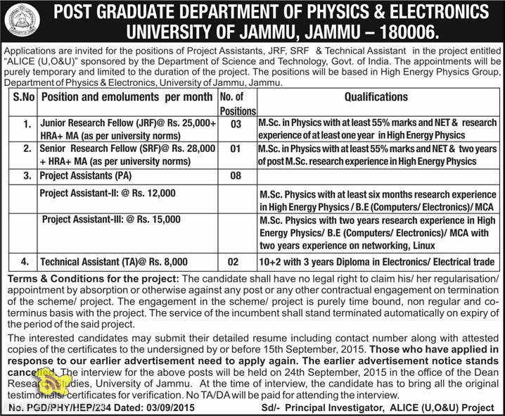 JRF, SRF, Technical Assistant, Project Assistant jobs in Jammu university, Jobs in Jammu,