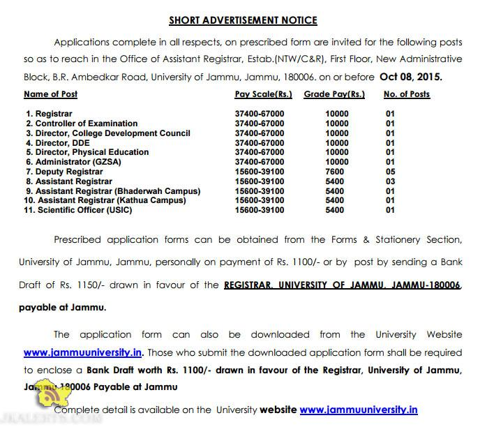 Jobs in Jammu University