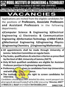 Professors, Associate Professors and Assistant Professors jobs in MIET, teaching jobs in Model institute of Engineering and technology, Jobs in MIET JammuProfessors, Associate Professors and Assistant Professors jobs in MIET, teaching jobs in Model institute of Engineering and technology, Jobs in MIET Jammu