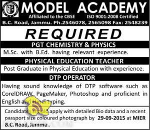 Teacher and DTP operator Jobs in Model Academy