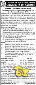 Lecturer jobs in University Of kashmir for the Academic Session -2015 JObs in Srinagar, Govt JObs in Srinagar, teaching JObs in Srinagar,employment News