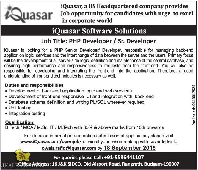 PHP Developer / Sr. Developer jobs in iQuasar Software Solutions, Employment news j&K 2015 , Private jobs in Srinagar, Jobs in IT sector, Vacancies in sgr