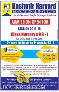 Admission open in Kashmir Harvard Session 2015 -16