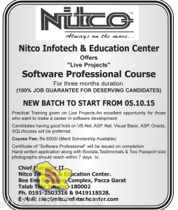 "Nitco Infotech & Education Center Offers ""Live Projects"" Software Professional Course"