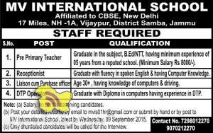 Teacher, DTP Operator, Receptionist jobs in MV International School