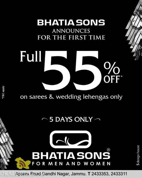 FULL 55% off on Sarees , wedding lehengas in Bhatia Sons