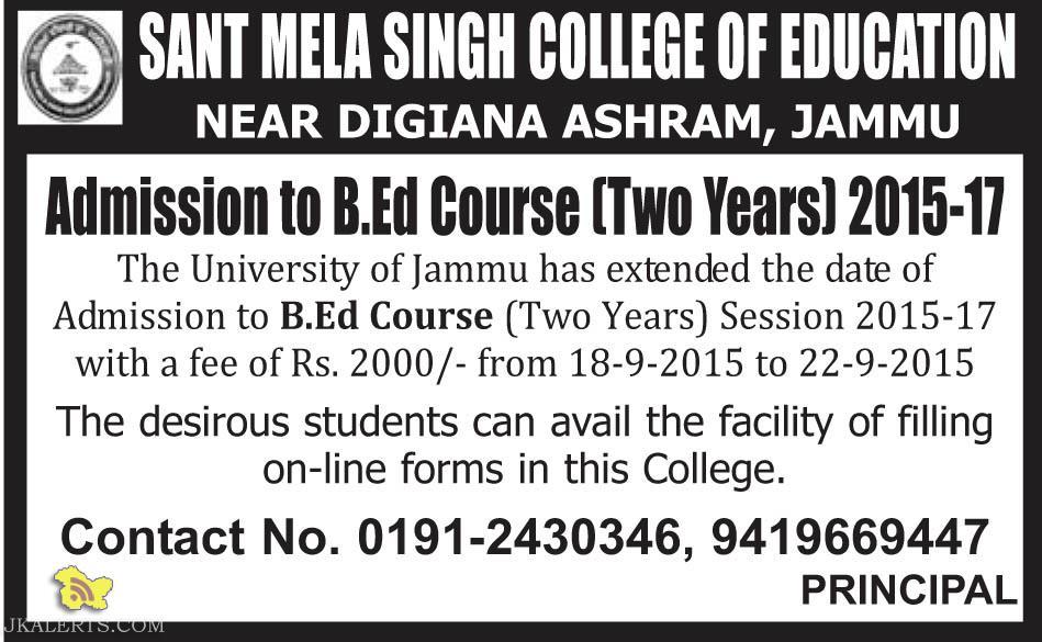 B.Ed admission in Jammu Sant mela college of education