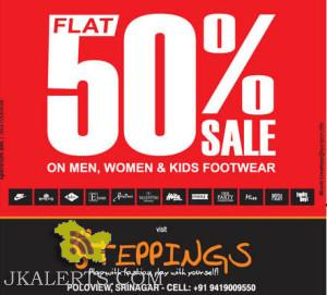 Flat 50% Sale on Men Women and Kids Footwear, Steppings Srinagar