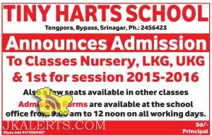 ADMISSION OPEN IN Classes Nursery, LKG, UKG & 1st TINY HARTS SCHOOL