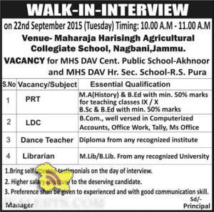 PRT, LDC, Librarian, Teacher Jobs in Maharaja Harisingh Agricultural Collegiate School, Nagbani,Jammu