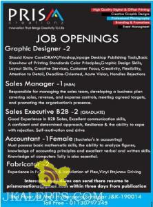 Jobs in Prism Creationz, Graphic Designer, Sales Manager, Accountant , Fabricator