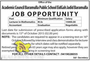 Lecturer, Accountant Jobs in Academic Council Baramulla Public School